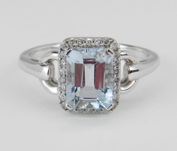 Diamond and Aquamarine Halo Engagement Ring Aqua 14K White Gold Emerald-Cut Size 7