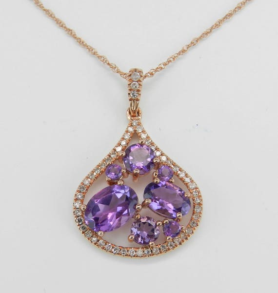 """Diamond and Amethyst Cluster Halo Pendant Necklace 18"""" 14K Pink Rose Gold Chain"""