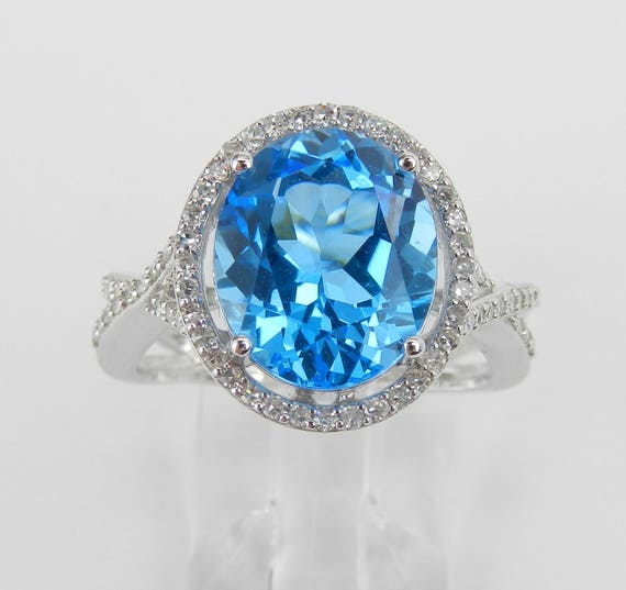 4.40 ct Diamond and Blue Topaz Halo Engagement Ring 14K White Gold Size 7