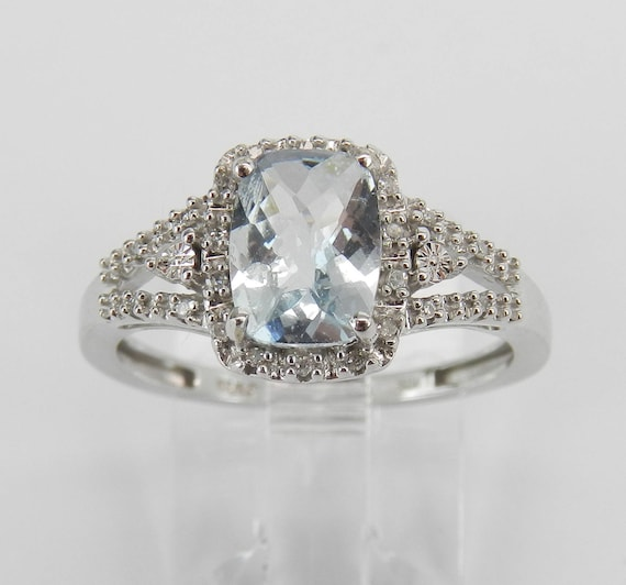 Diamond and Cushion Aquamarine Engagement Ring Aqua White Gold Size 7 March Gem