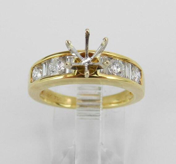 18K Yellow Gold Diamond Engagement Ring Setting Semi Mount Size 6