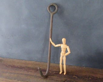 Vintage Hand Forged Hay Hook, Ice Hook, Meat Hook, Farmhouse Barn Hook, Wall Hook, Rustic Decor, Upcycle