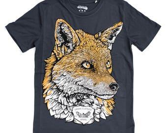 Fox t shirt graphic tee illustrated t-shirt mens t shirt unisex blue tee organic t shirt