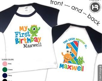 Monster Birthday Shirt or Bodysuit Raglan Style - Boys Personalized Monster First Birthday Shirt - Monster 1st Birthday Outfit