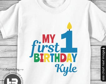 1st Birthday Shirt or Bodysuit (Red, Green, Blue Design) - Personalized my first birthday outfit