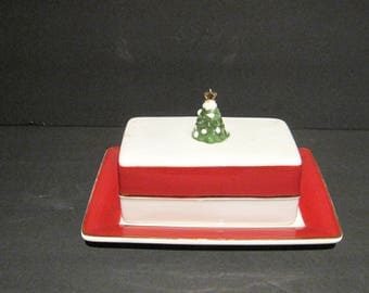 Kate Williams Christmas Covered Butter Dish