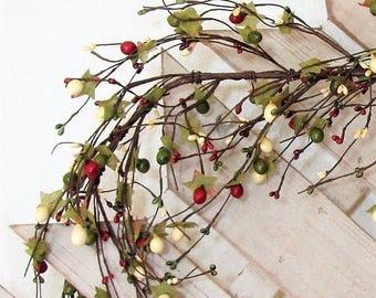 WREATH SALE Summer Berry Garland - Pip Berry Garland - Primitive Berry Garland - Primitive Country - Farmhouse Decor - Basket Decor