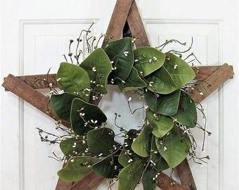 WREATH SALE Farmhouse Star - Magnolia Wreath - Front Door Decor - Rustic Star Wreath - Magnolia Leaf - Tobacco Lathe Star - Texas Star