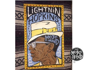Lightnin Hopkins blues folk art painting on wood by Grego of mojohand.com - outsider art