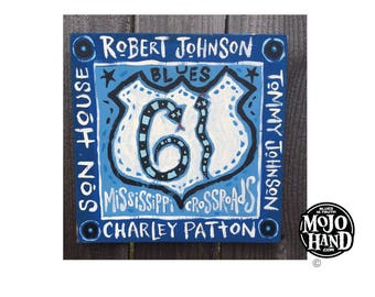 Hwy 61 Delta blues folk art painting on wood by Grego of mojohand.com - outsider art