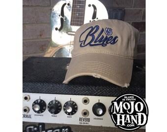 Blues Music Hat from Mojohand.com - delta blues music themed cap - Khaki