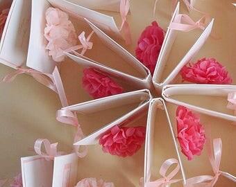 "Party pom pom decoration set - 100 supermini 10cm/4""  tissue  paper Pom Poms  kit -  custom colors - for place cards -invitations-wedding"