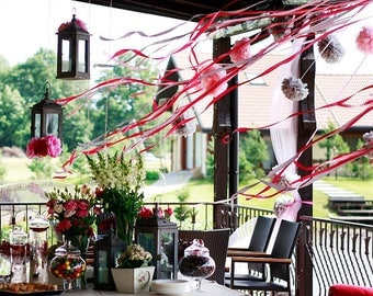 Paper pom poms set-60 small size tissue paper pompoms value set -CUSTOM COLOR-wedding decorations - baby shower-gender reveal-garden party