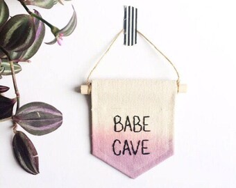 SALE Babe Cave Mini banner -  blue and purple dip dyed - 4 x 5 inch embroidered mini banner