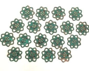 Brass Flowers, 18 Piece, Rosette Flowers, Beading Flower, Aqua Copper, Jewelry Making, Bsue Boutiques, US Made, Nickel Free, 21mm, Item03431