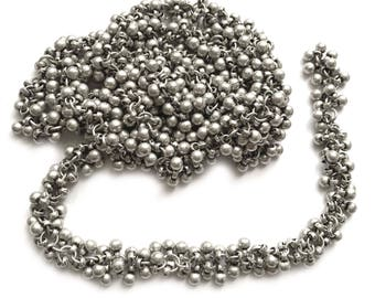 Belly Dancer Chain, 3 Continuous Feet, Specialty Chain, Multi Bead Chain, Jewelry Making, Handmade Chain, Matte Silver, B'sue,  Item03544