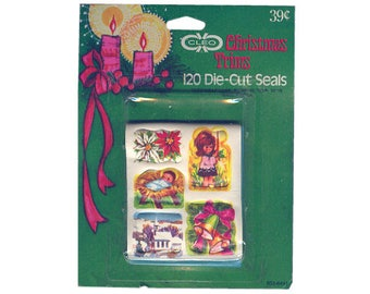 PACK Vintage 70's CLEO Stickers Seals ~ CHRISTMAS Holiday Poinsettia Bells