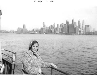 "Vintage Snapshot ""NYC Skyline"" Empire State Building Skyscrapers New York City 1958 Found Vernacular Photo"