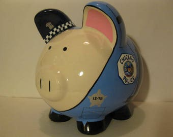 """Personalized Piggy Bank, Police Officer """"Pigs"""" Piggy Bank - Large - MADE TO ORDER"""