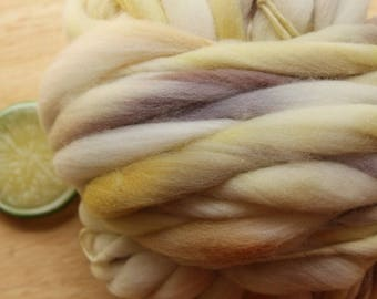 Royal Baby - Handspun Gold Lavender Merino Wool Yarn Thick and Thin Skein