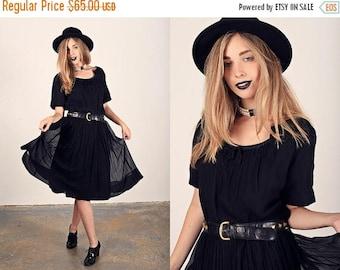 FLASH SALE 50s Black Chiffon Dress Vintage Little Black Party Dress