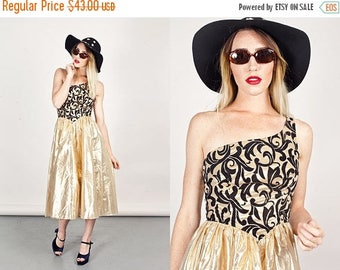 FLASH SALE 80s Gold Baroque Dress Vintage Tinsel Brocade Party Dress