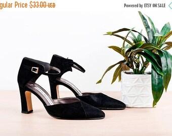 FLASH SALE Black Vintage Mary Jane Velvet Pointy Heels Shoes