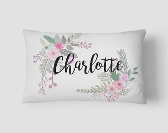 Personalised Name cushion Floral Border