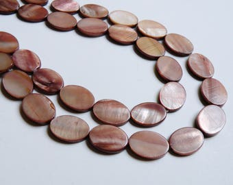 Mother of Pearl shell brown flat oval beads mauve bronze 17x12mm-18x13mm full strand 2391CX