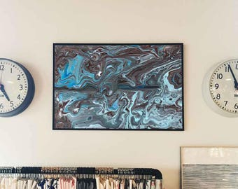 Blue Brown abstract // Acrylic Painting// Original Handmade // Signed // wall ready //  wall art // modern art // anniversary present