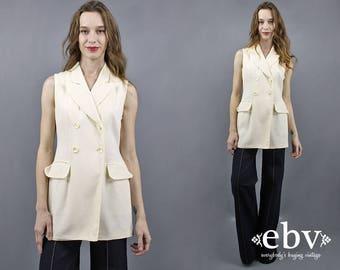 Cream Wool Vest Long Wool Vest 90s Vest Cream Vest Double Breasted Vest 1990s Vest Tuxedo Vest 90s Tunic The Limited Vest Long Vest XS S