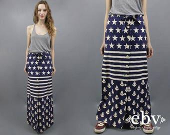 Flag Maxi Skirt 1970s Maxi Skirt 70s Maxi Skirt Hippie Skirt Boho Skirt Sailor Skirt Nautical Skirt Rare Vintage Skirt 1970s Skirt M L
