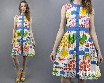 Rainbow Dress Novelty Print Dress Malia Sundress Malia Dress 60s Dress 1960s Dress 70s Dress 1970s Dress Summer Dress Vacation Dress M