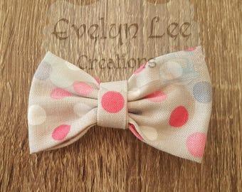 Grey with Multi Coloured Polka Dots Hair Bow