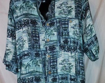 "BIG SUMMER SALE 90s Vintage Rayon Aloha Shirt-Hawaiian Man Mens-Resort Beach Cruise Luau Casual Shirt-Large-44"" Chest-Blue Hawaii Print"