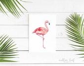No. 5 Flamingo, Pink Bird, Shabby Chic, Minimal, Archival Watercolor Print, Flamingo watercolor painting