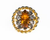 Reserved Listing pleas do not purchase Amber Rhinestone Statement Ring with Opaline Rhinestones