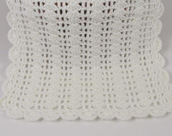 Doll Blanket 19x14, Toy Blanket in White, Doll Baby Blanket Crochet, Small Security Blanket