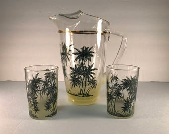 Pitcher and Glasses with a Tropical Palm Tree Design. Ombre Blendo Glass.