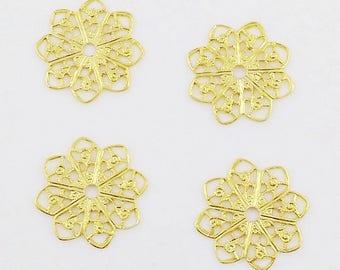 Gold Filigree, Flower Filigree, Brass Flower, Brass Stamping, Filigree Connector, 20mm - 4pcs. (gd105)