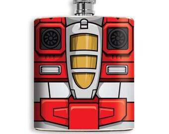 80's Transformers Seeker Jet Inspired Mens Flask Superhero Drinking Liquor -Starscream Skywarp Thundercracker Groomsmen Gift Comic Hip Flask