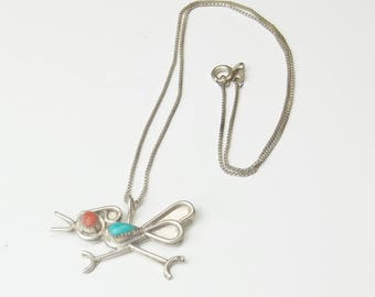 Abstract Roadrunner 1970's Vintage Necklace Sterling Silver Turquoise Coral Pendant Fine Jewelry Designer Signed Gift For Her Or Him on Etsy