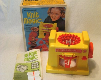 Mattel Knit Magic Childs Knitting Machine in Original Box Vintage 1970s Knits for Barbie Doll, Learn to Knit, Fast, Easy Knitting