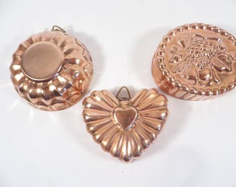 Set of 3 Small Vintage Copper Molds - Three Copper Clad Small Molds