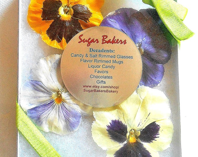 Featured listing image: Giant, CRYSTALLIZED, EDIBLE, PANSIES, Gift, Purples, Blues, Yellows, Burgundy, Mixed Colors, Large, Cake Decorations, 8 large