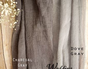 """Classic 30"""" Table Runner Weddings Special Events Arbor Arch Grey Decor Hand Dyed Cotton Scrim Cheesecloth Runner Length Choice Color Choice"""