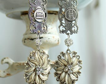 Evening in Paris assemblage earrings vintage antique celluloid featherweight rhinestones souvenir bracelet jewelry ivory cream  stunning
