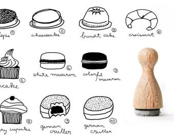 Tiny rubber stamp Sweets, Cake Rubber Stamp, Macaroon rubber stamp, Cupcake rubber stamp, croissant rubber stamp, bundt cake print