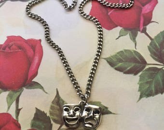 Smile Now Cry Later mask silver tone charm necklace 18""