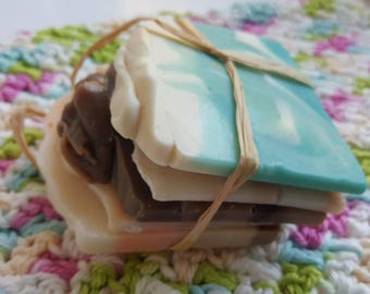 Handmade crochet cotton face cloth , wash cloth with bag of handmade soap